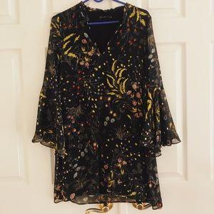ZARA FLOWY FLORAL DRESS